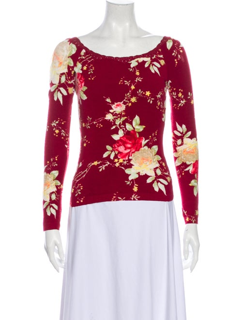 Blumarine Floral Print Scoop Neck Top Red - image 1