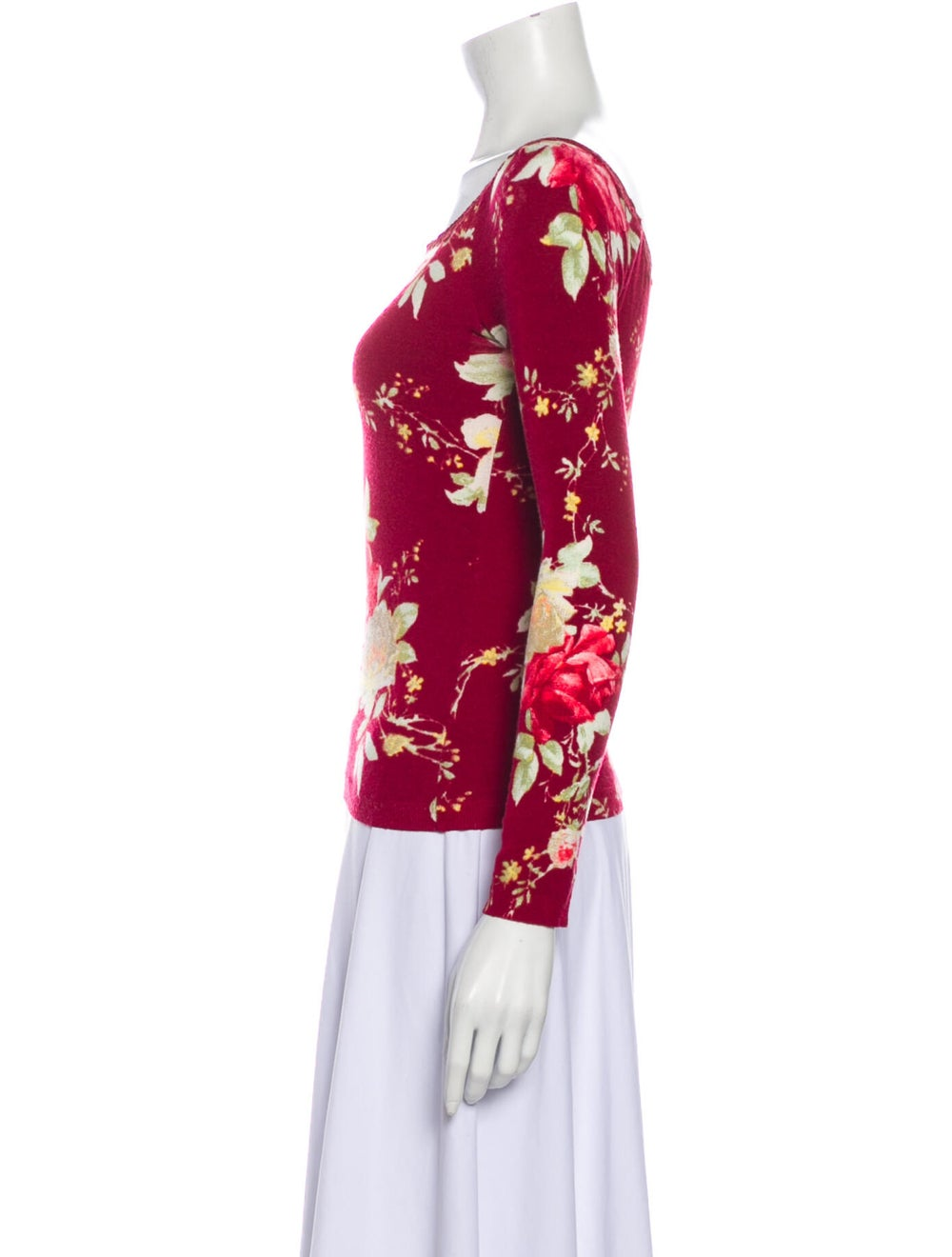 Blumarine Floral Print Scoop Neck Top Red - image 2