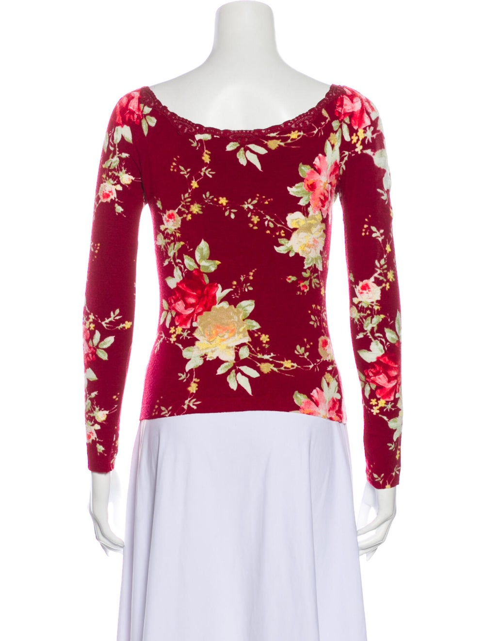 Blumarine Floral Print Scoop Neck Top Red - image 3