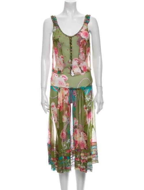 Blumarine Silk Midi Length Dress Green