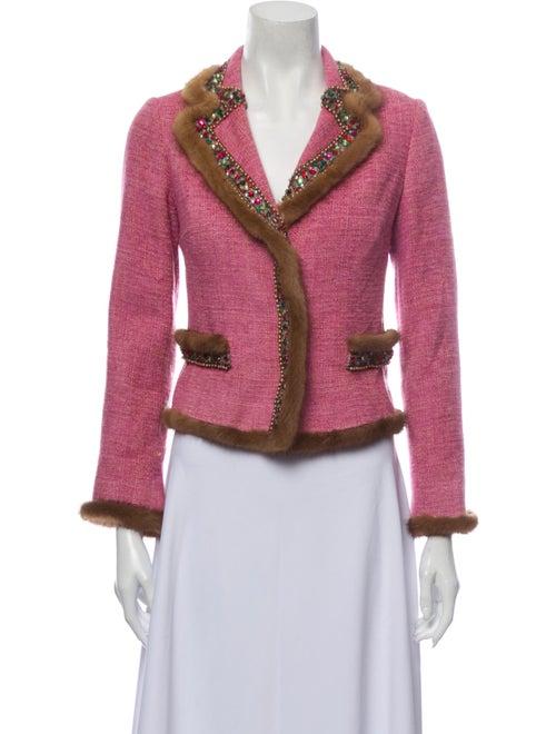 Blumarine Tweed Pattern Blazer Pink