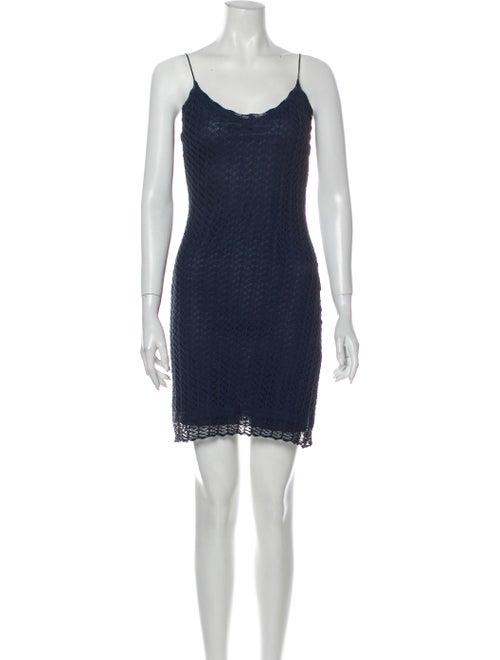 Blumarine Lace Pattern Mini Dress Blue