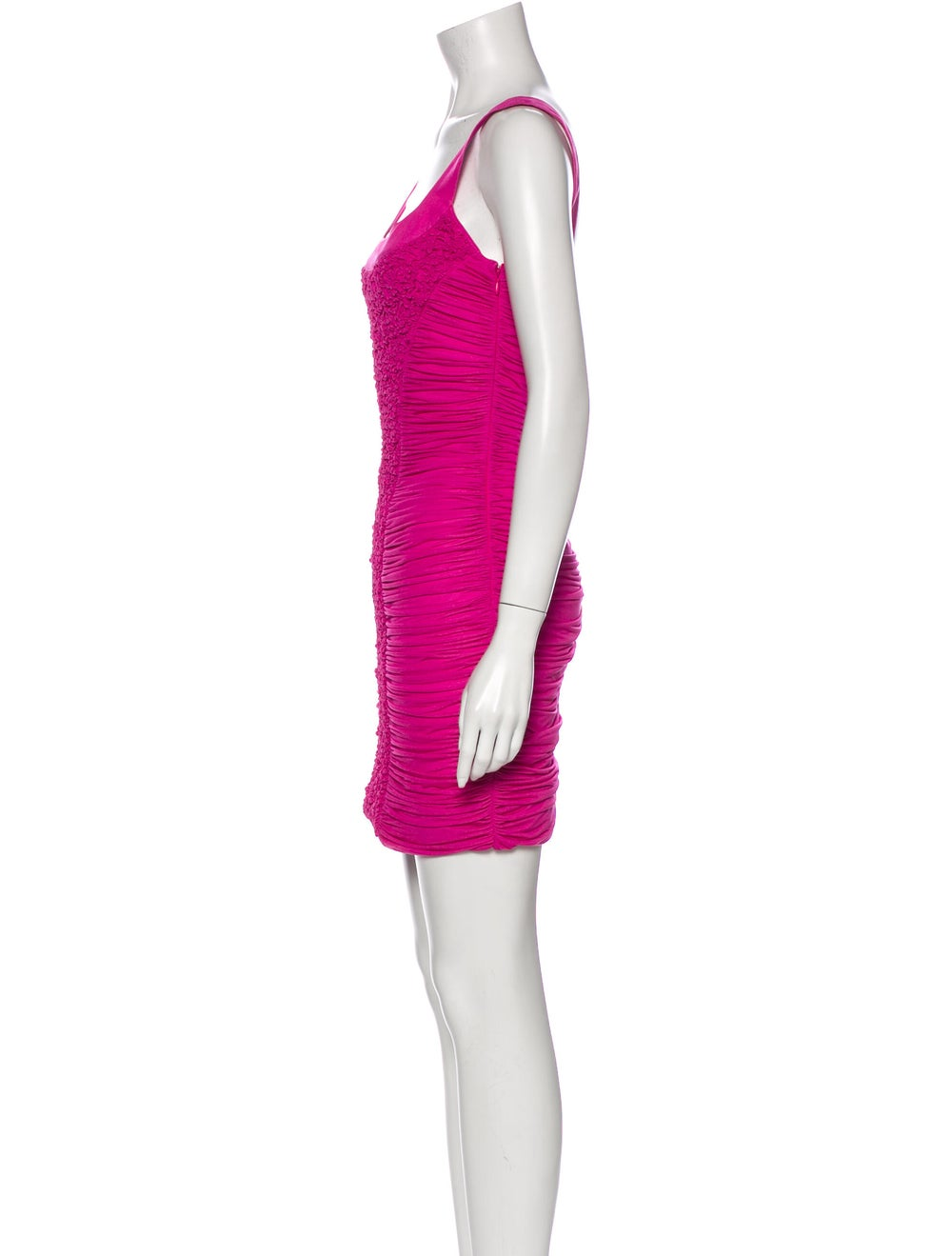 Blumarine Square Neckline Mini Dress Pink - image 2
