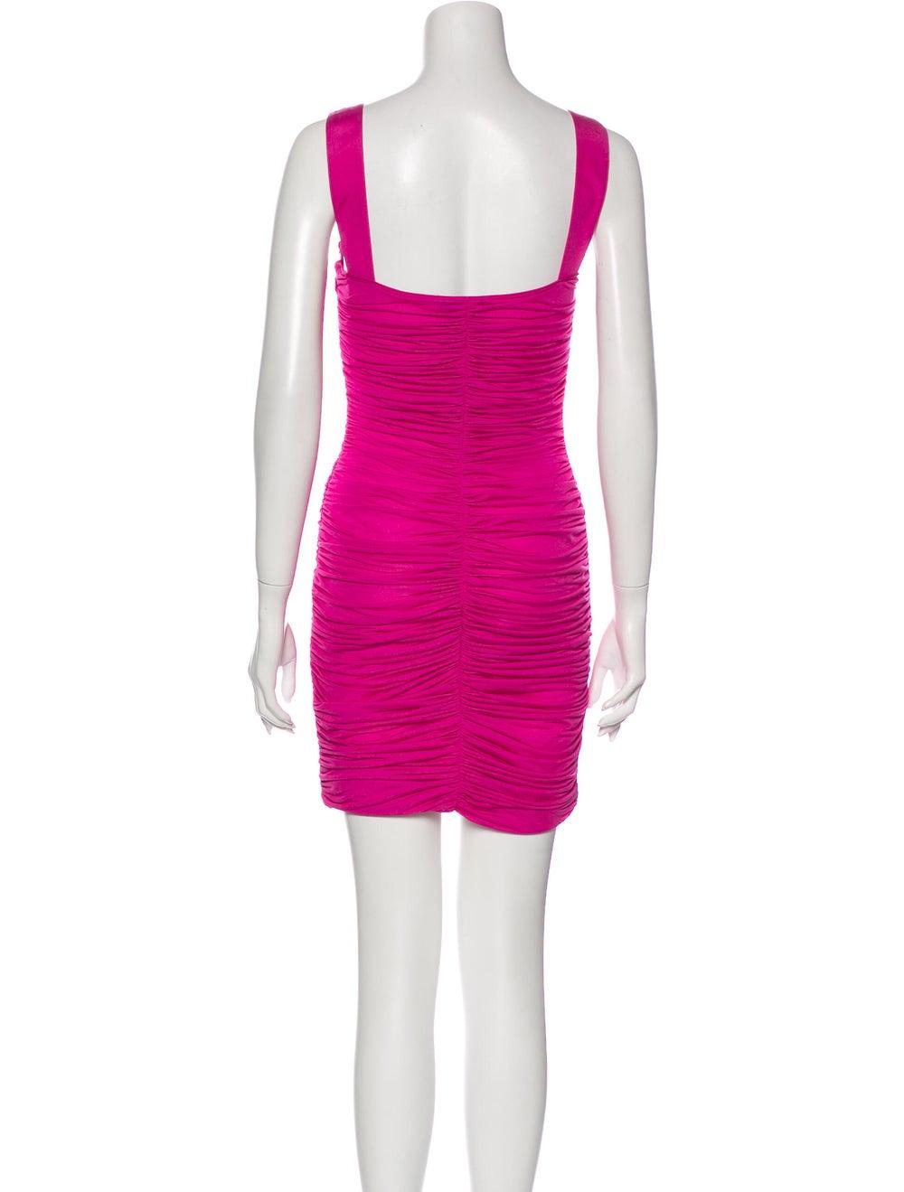 Blumarine Square Neckline Mini Dress Pink - image 3
