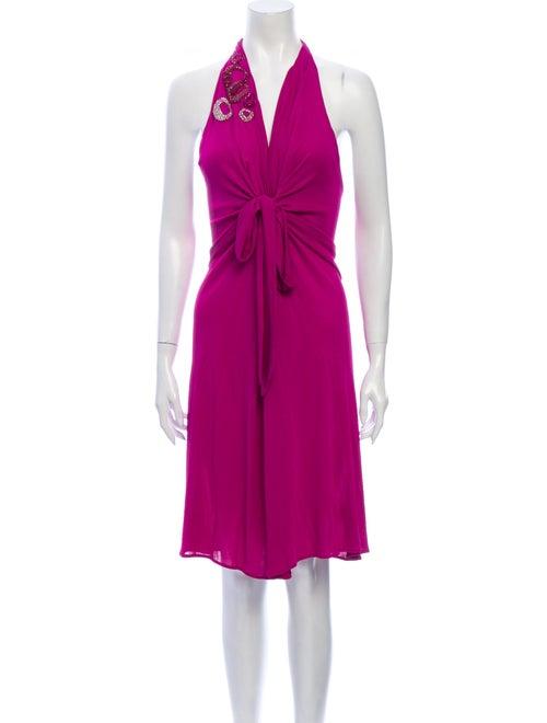 Blumarine Halterneck Mini Dress Purple