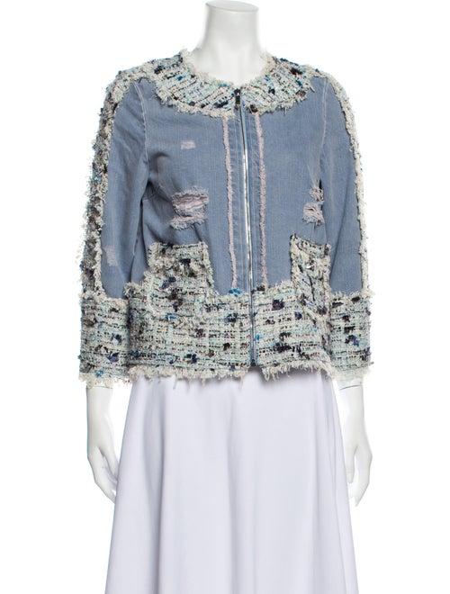 Blumarine Colorblock Pattern Denim Jacket Denim