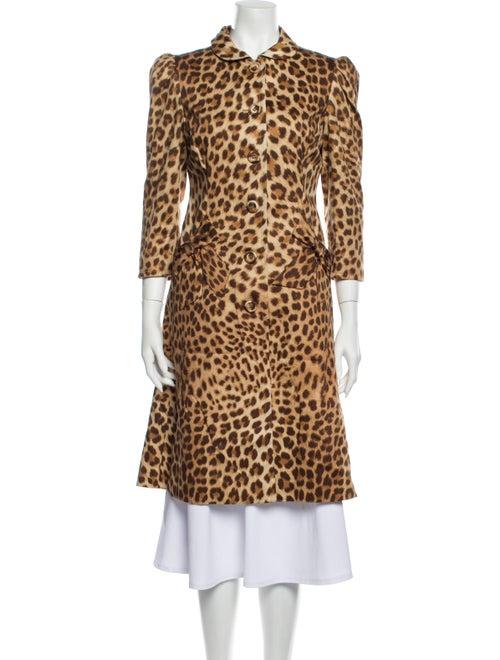 Blumarine Animal Print Coat Brown