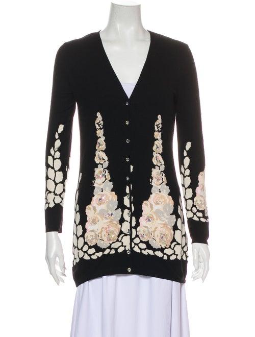 Blumarine Floral Print V-Neck Sweater Black