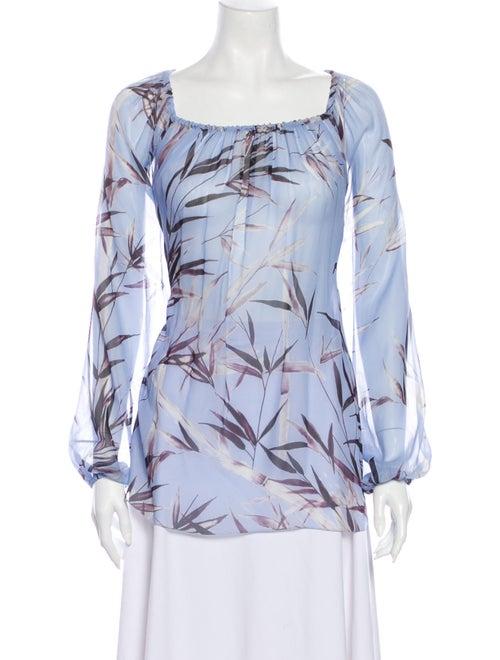 Blumarine Silk Printed Blouse Blue