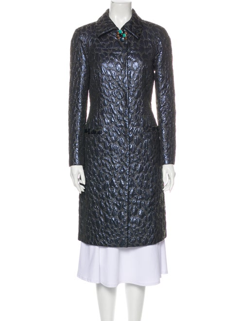 Blumarine Wool Patterned Trench Coat Wool