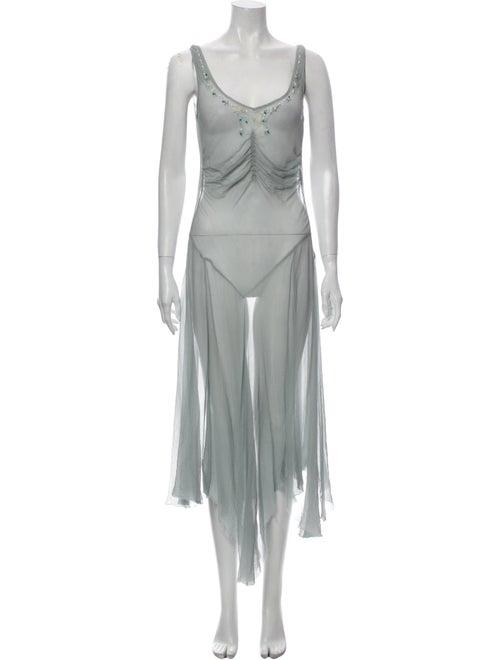 Blumarine Silk Long Dress Green
