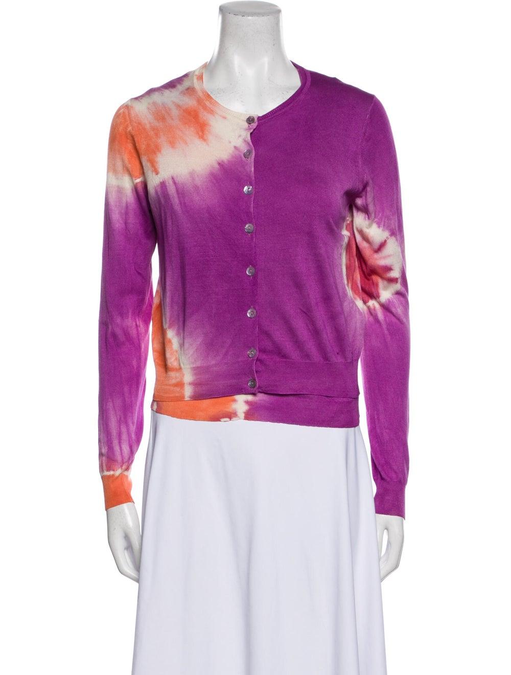 Blumarine Silk Tie-Dye Print Sweater Orange - image 1