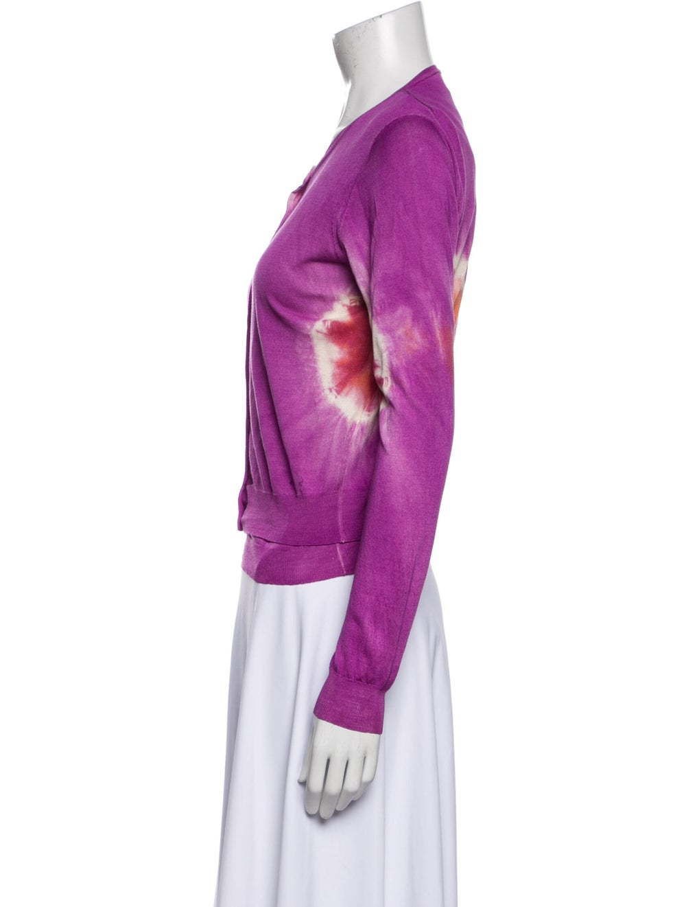 Blumarine Silk Tie-Dye Print Sweater Orange - image 2