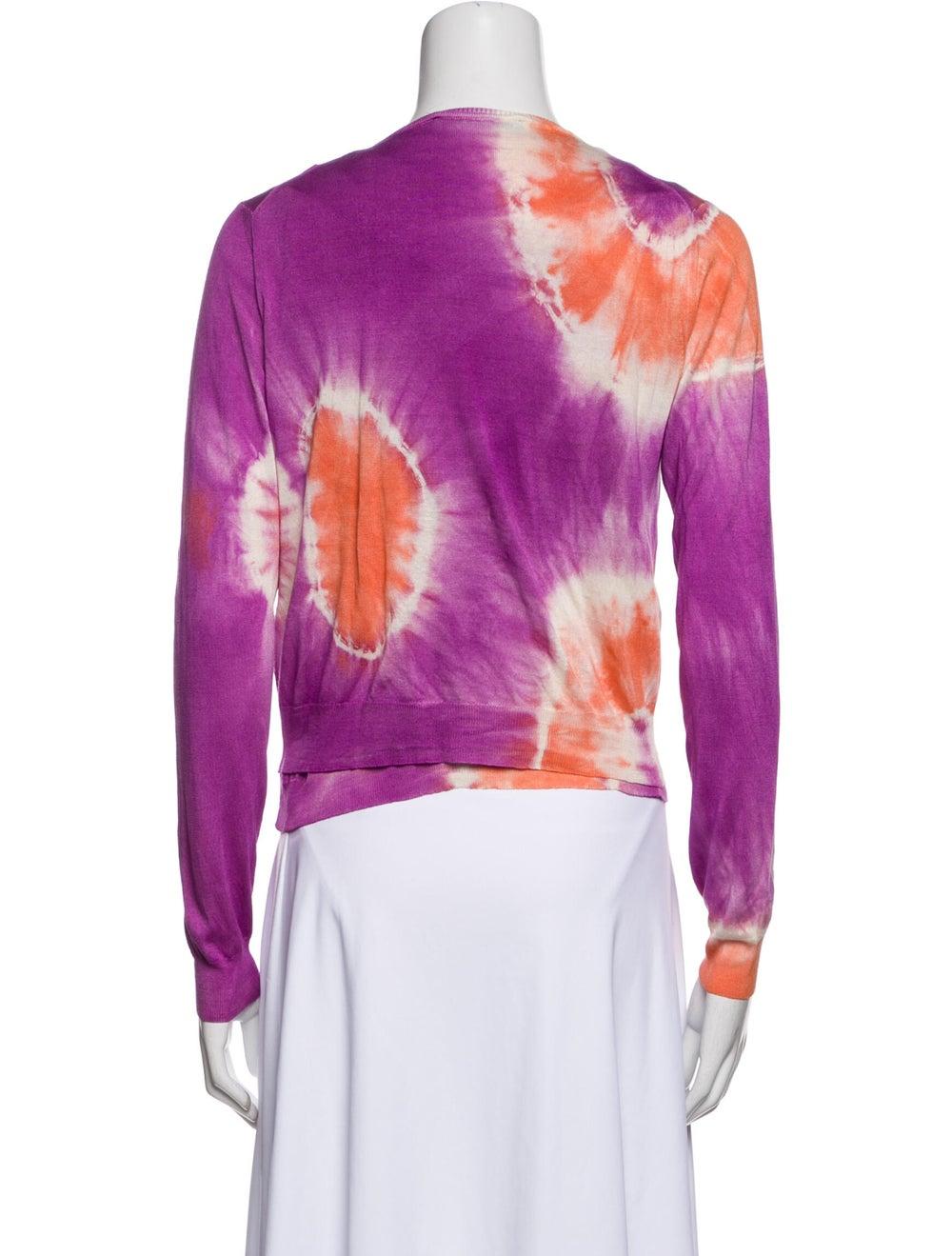 Blumarine Silk Tie-Dye Print Sweater Orange - image 3