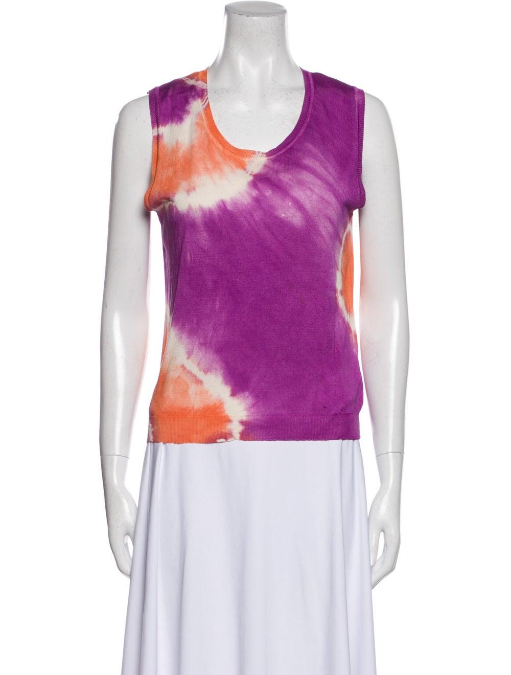 Blumarine Silk Tie-Dye Print Sweater Orange - image 4
