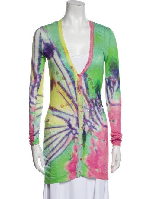 Blumarine Silk Tie-Dye Print Sweater Green