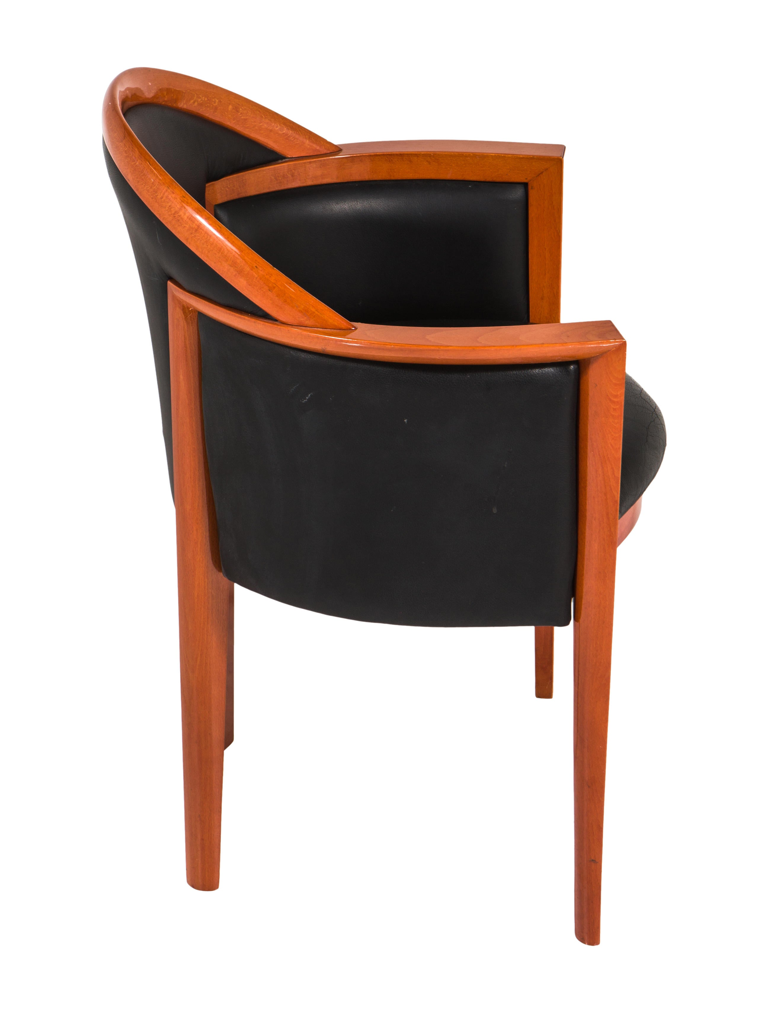 Roche bobois mid century modern wood and black leather for Mid century modern wood furniture
