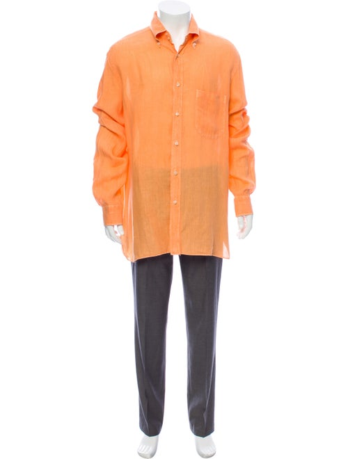 Borrelli Linen Casual Shirt orange