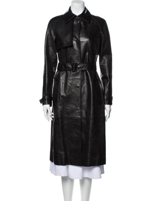 Bottega Veneta Leather Trench Coat Black