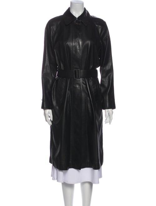 Bottega Veneta Calf Leather Trench Coat Black