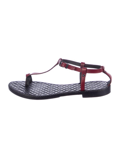 Bottega Veneta Leather T-Strap Sandals Red