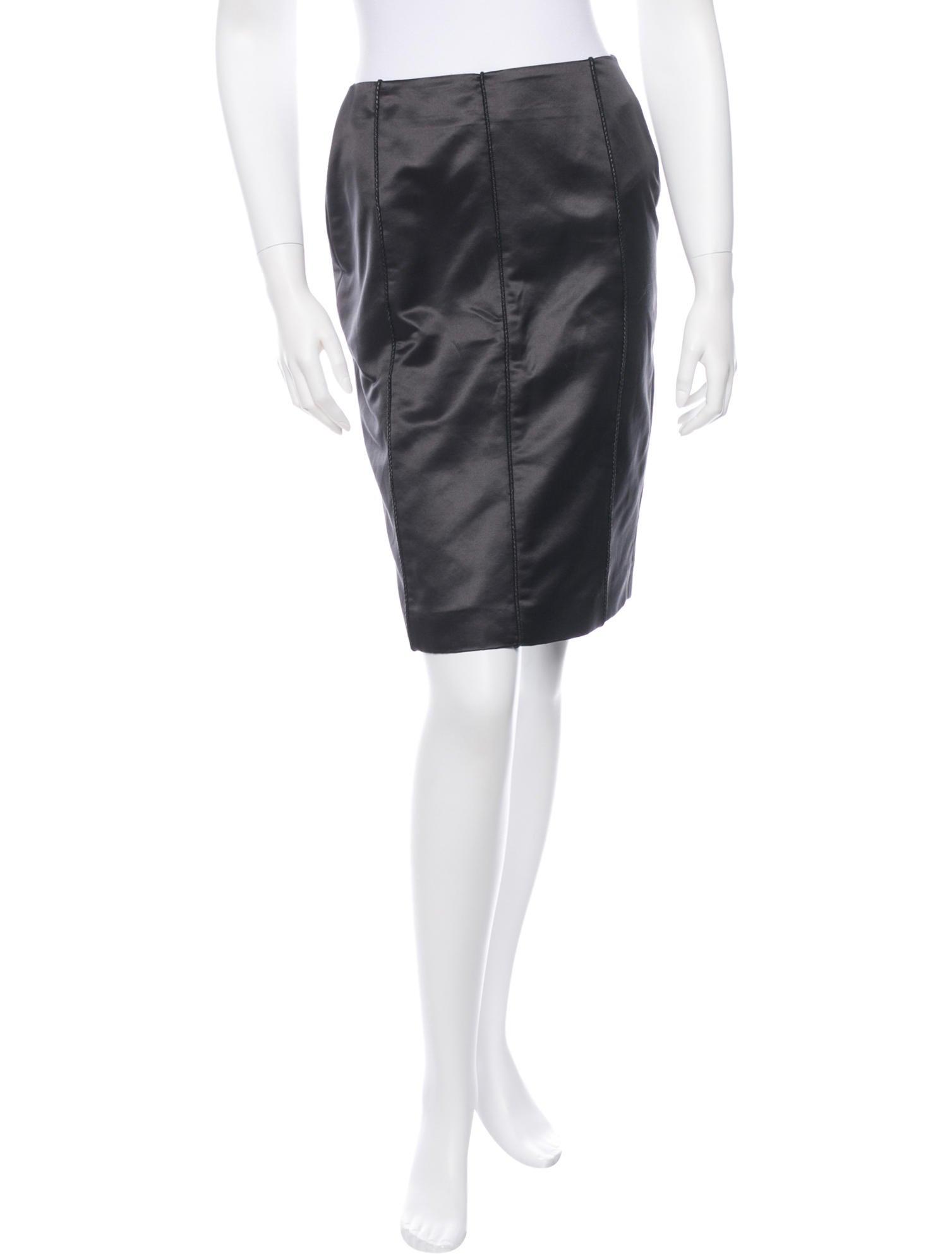 bottega veneta satin pencil skirt clothing bot26190