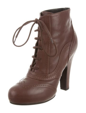 Brogue Lace-Up Ankle Boots