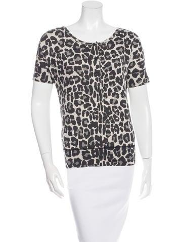 Bottega Veneta Short Sleeve Leopard Print Top w/ Tags None