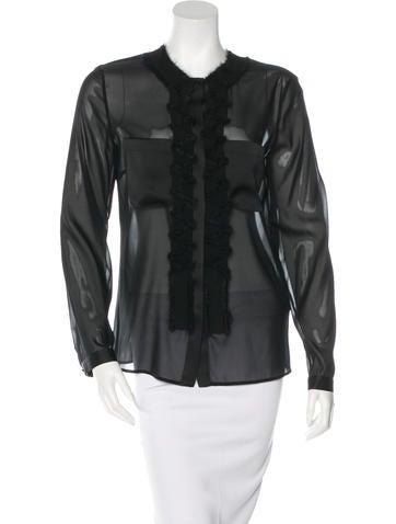 Bottega Veneta Embellished Silk Button-Up None