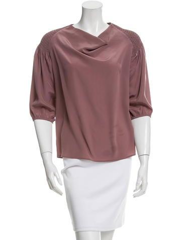 Bottega Veneta Silk Three-Quarter Sleeve Top None