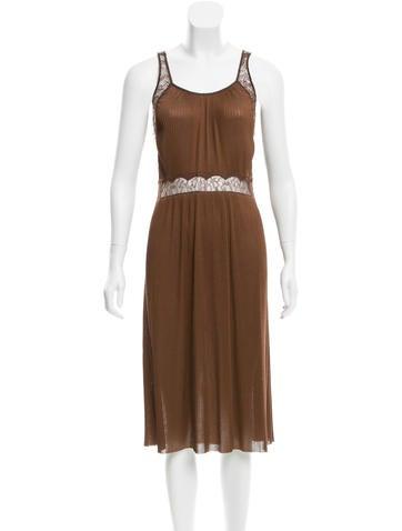Bottega Veneta Lace-Accented Silk Dress None