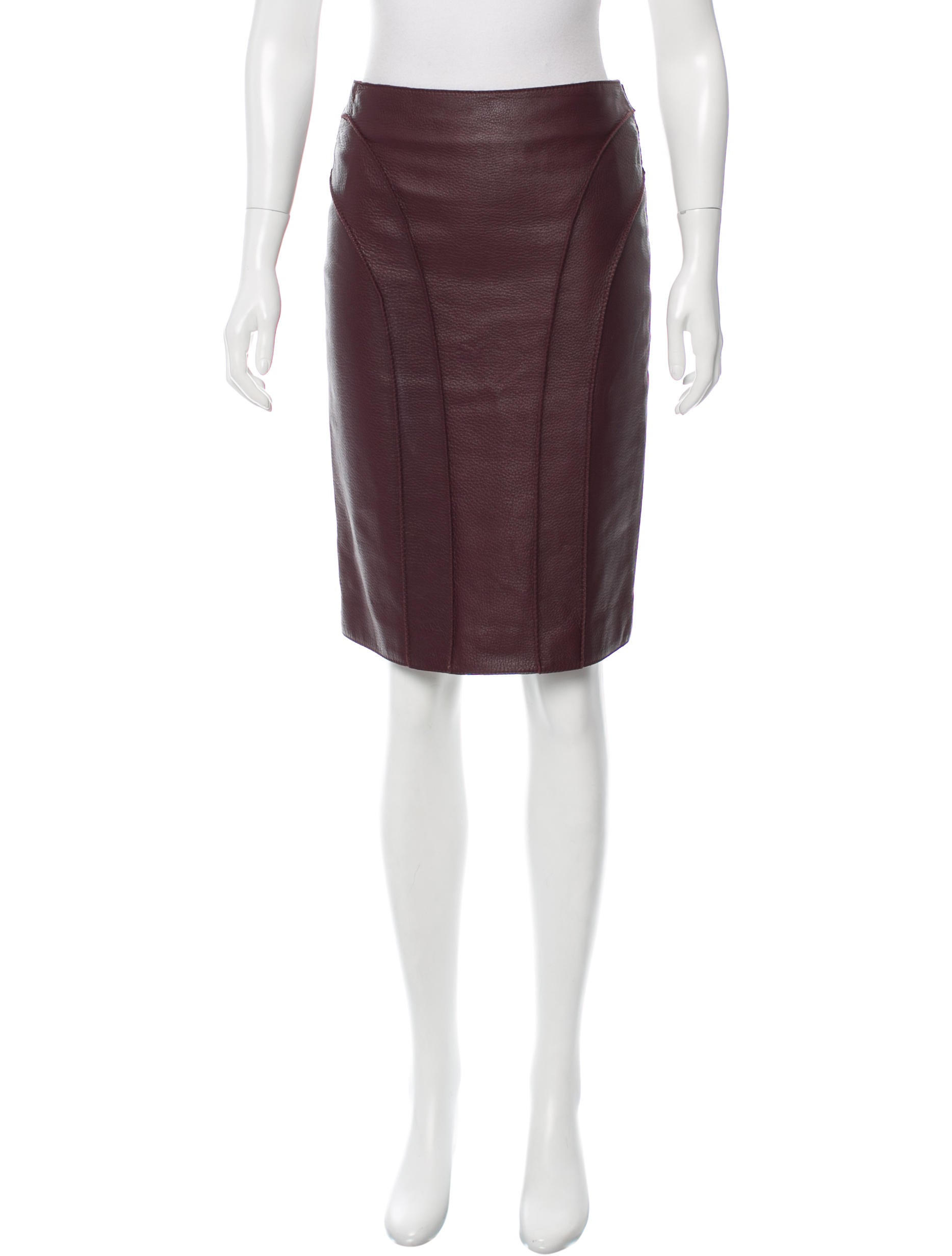 bottega veneta leather pencil skirt clothing bot39876
