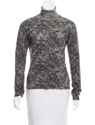 Bottega Veneta Lace Print Cashmere Top None