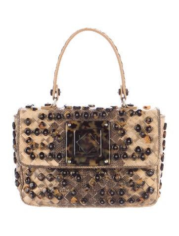 Bottega Veneta Embellished Snakeskin Intrecciato Bag None