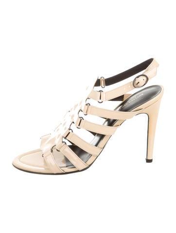 Bottega Veneta Patent Leather Caged Sandals None