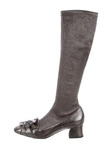 Bottega Veneta Metallic Knee-High Boots None