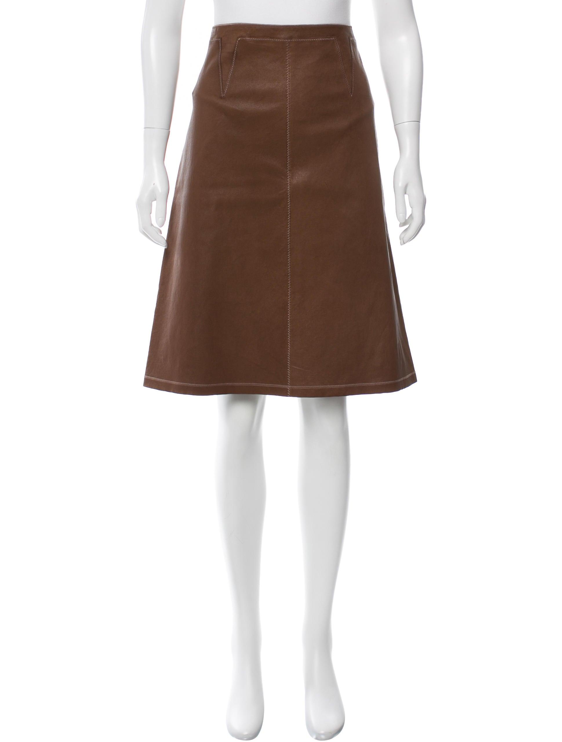 bottega veneta leather knee length skirt w tags