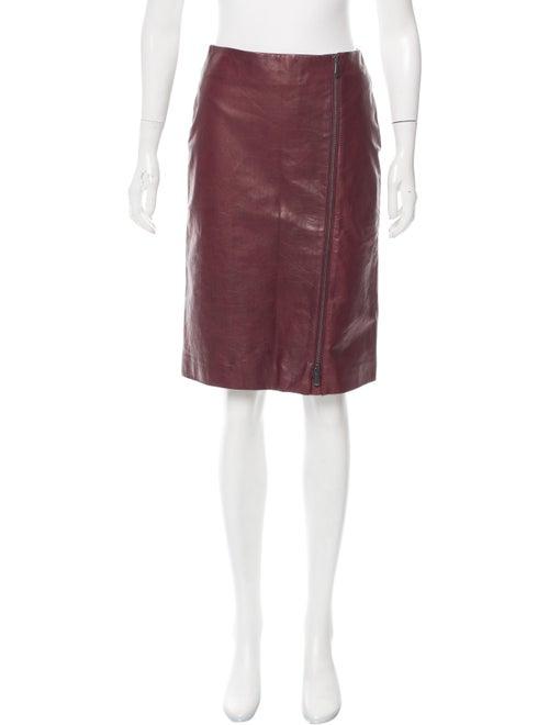 Bottega Veneta Leather Pencil Skirt red