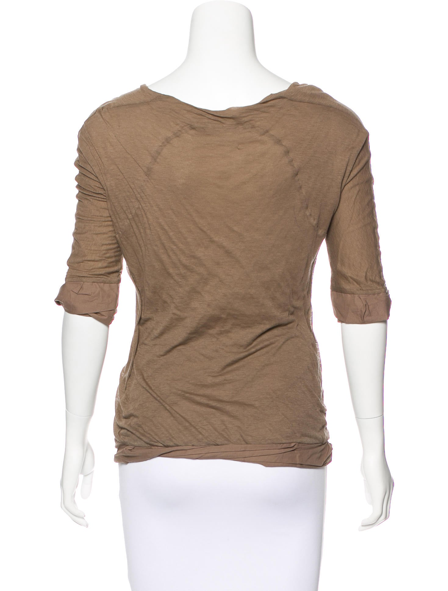 Bottega veneta scoop neck three quarter sleeve t shirt for Bottega veneta t shirt