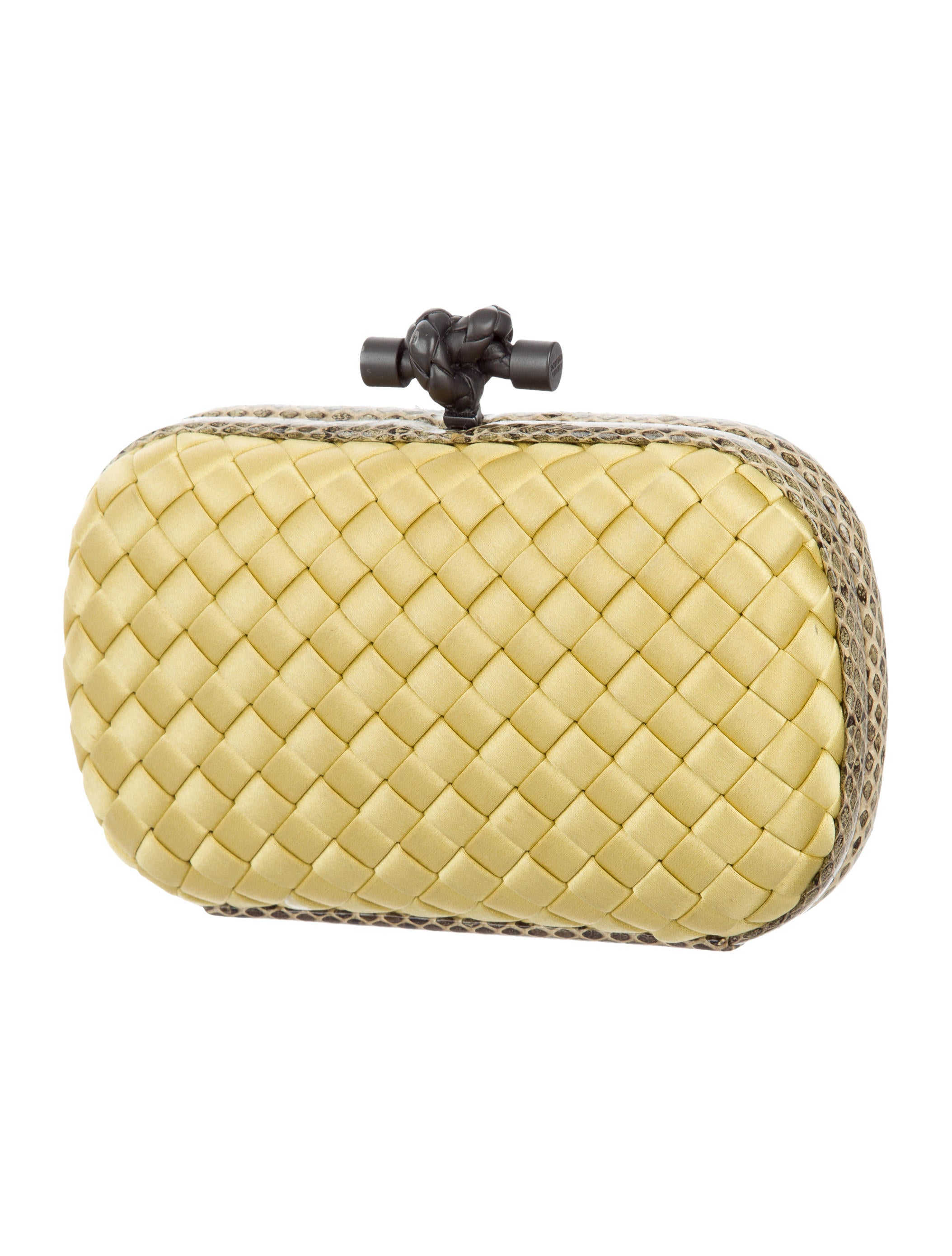 bottega veneta snakeskin trimmed knot clutch handbags bot47595 the realreal. Black Bedroom Furniture Sets. Home Design Ideas