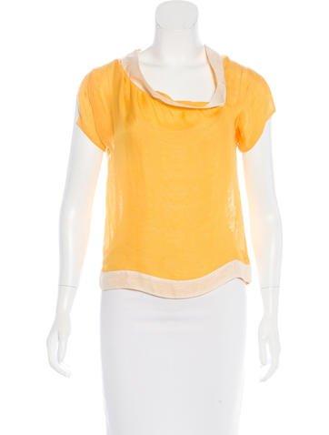 Bottega Veneta Silk Short Sleeve Top None