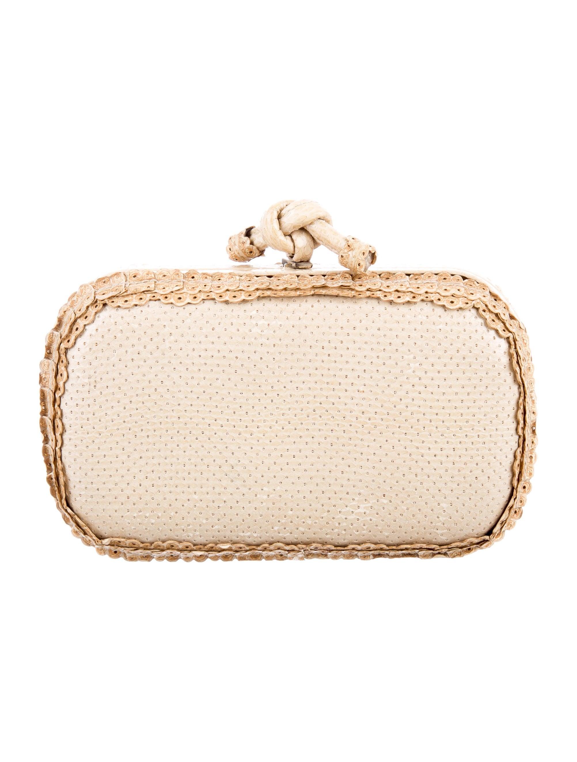 bottega veneta snakeskin knot clutch handbags bot47993 the realreal. Black Bedroom Furniture Sets. Home Design Ideas