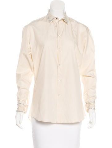 Bottega Veneta Embellished Button-Up Top None
