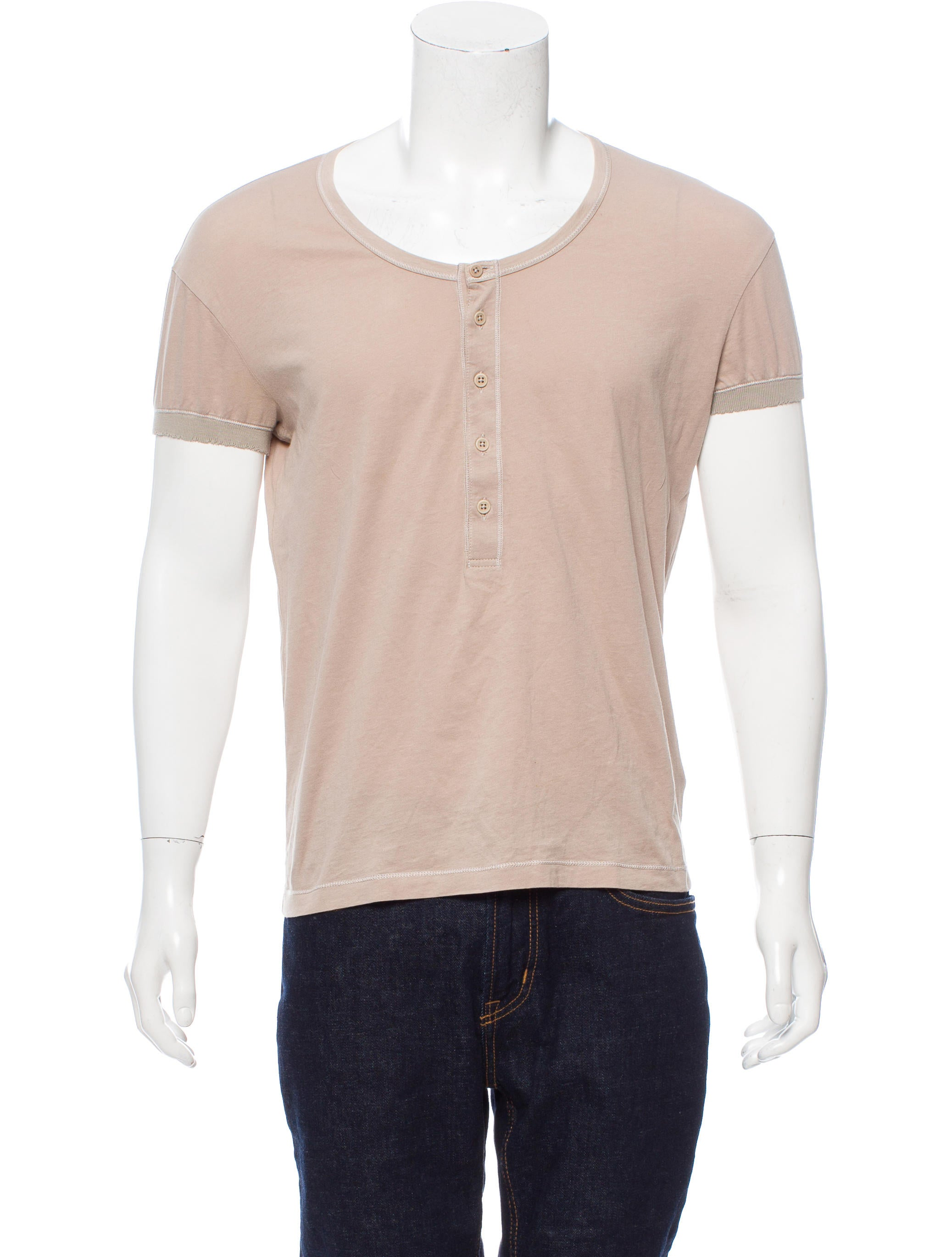 Bottega veneta distressed henley t shirt clothing for Bottega veneta t shirt