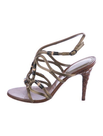 Bottega Veneta Satin Caged Sandals None