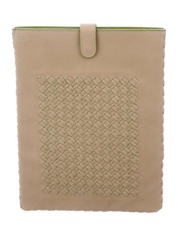 Bottega Veneta Intrecciato-Paneled Leather iPad Case None
