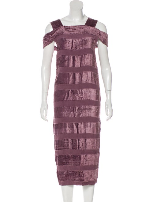 Bottega Veneta Velvet Midi Dress Purple
