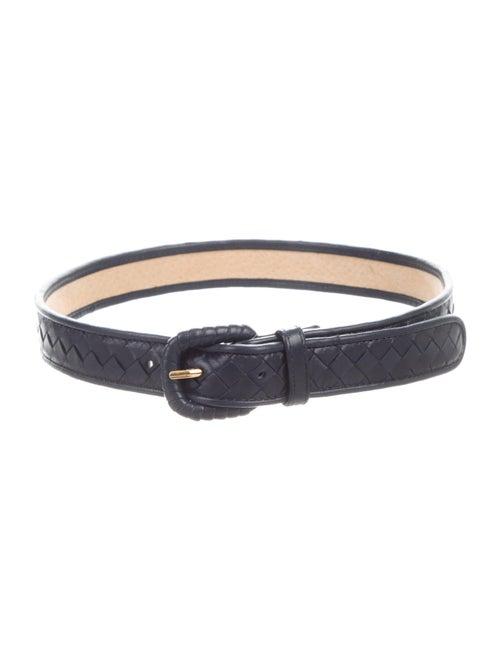 Bottega Veneta Intrecciato Leather Belt Navy