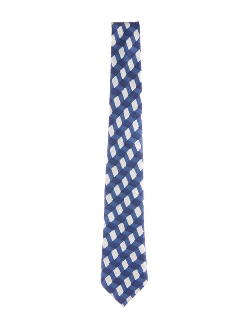Bottega Veneta Printed Silk Tie blue