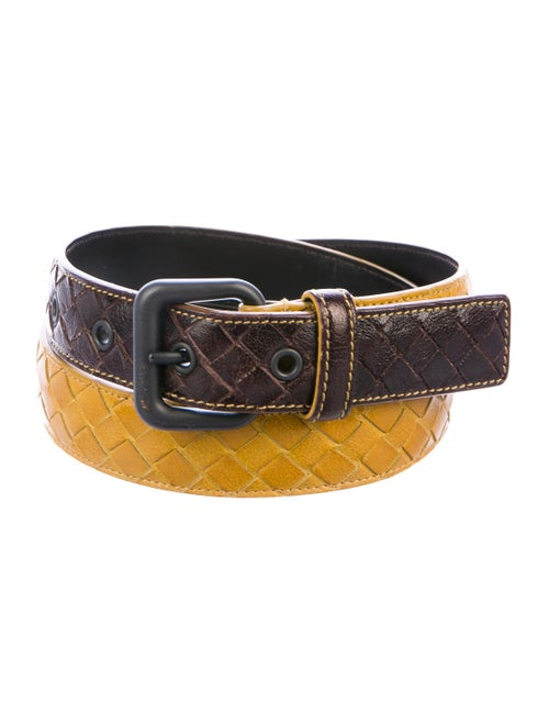 Bottega Veneta Intrecciato Leather Belt Yellow